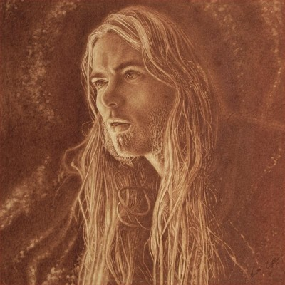 Vincent Castiglia - ViaOmega cover artist - showcases his blood painting of Gregg Allman